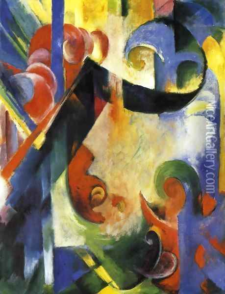 Broken Forms Oil Painting - Franz Marc