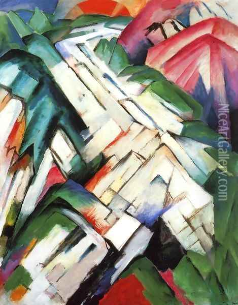 Mountains Aka Rocky Way Landscape Oil Painting - Franz Marc