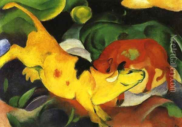 Cows Yellow Red Green Oil Painting - Franz Marc