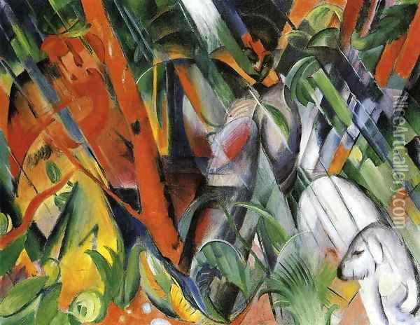 In The Rain Oil Painting - Franz Marc