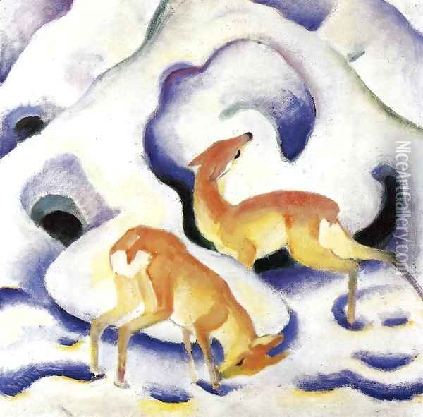 Deer In The Snow Oil Painting - Franz Marc