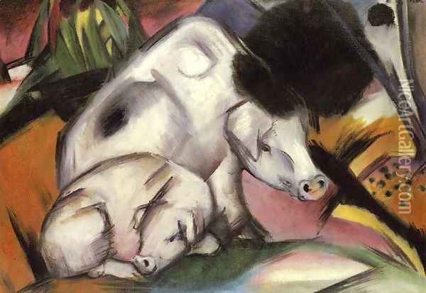 Pigs Oil Painting - Franz Marc