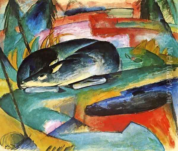 Sleeping Deer Oil Painting - Franz Marc