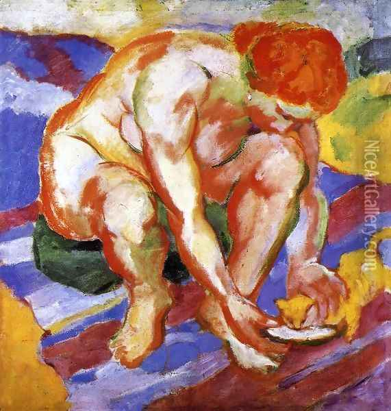 Nude With Cat Oil Painting - Franz Marc