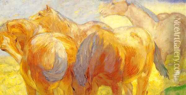 Large Lenggries Horse Painting Oil Painting - Franz Marc