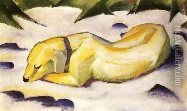 Dog Lying In The Snow Oil Painting - Franz Marc