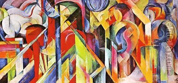 Stables Oil Painting - Franz Marc