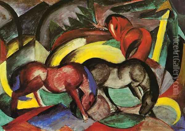 Three Horses Oil Painting - Franz Marc