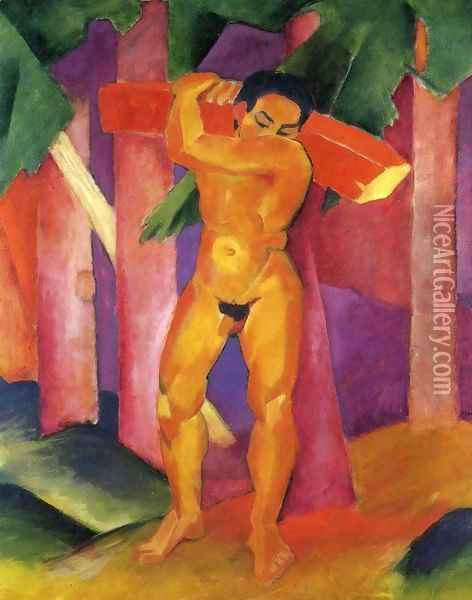 Woodcutter Oil Painting - Franz Marc
