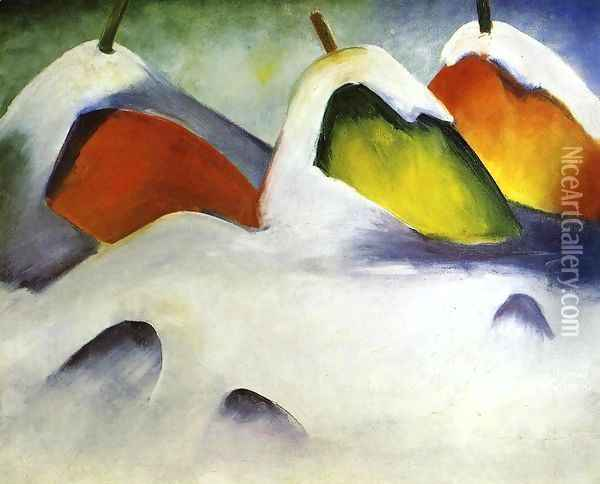 Haystacks In The Snow Oil Painting - Franz Marc