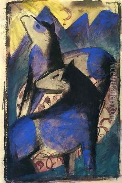 Two Blue Horses Oil Painting - Franz Marc