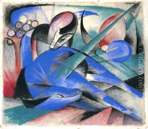 Horse Asleep Oil Painting - Franz Marc