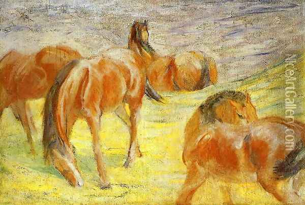 Grazing Horses Oil Painting - Franz Marc
