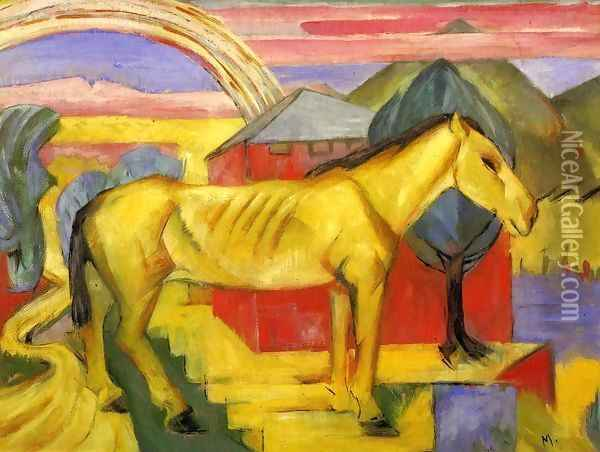 Long Yellow Horse Oil Painting - Franz Marc