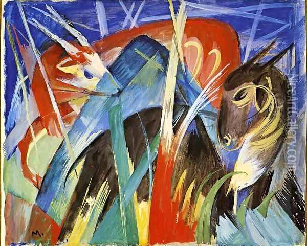 Fairy Animals Oil Painting - Franz Marc