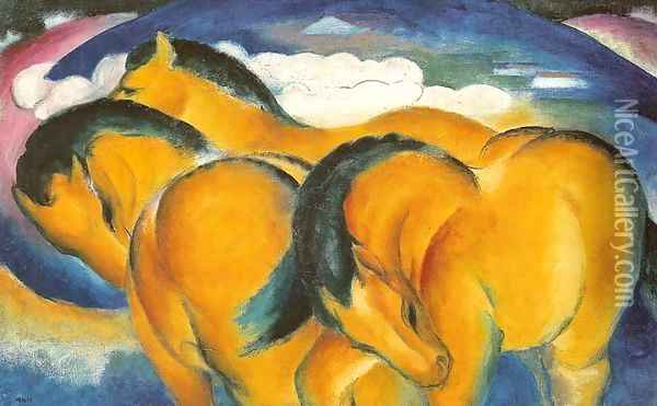 Small Yellow Horses Oil Painting - Franz Marc