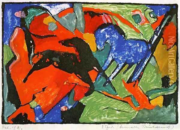 Two Horses Oil Painting - Franz Marc