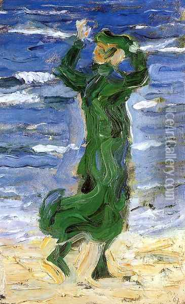 Woman In The Wind By The Sea Oil Painting - Franz Marc