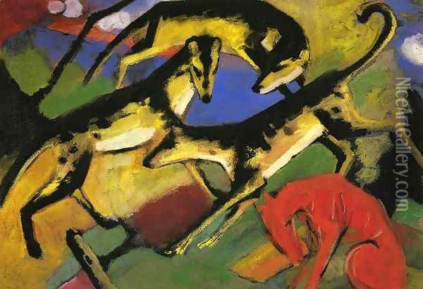 Playing Dogs Oil Painting - Franz Marc