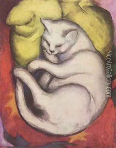 Cat on a Yellow Pillow Oil Painting - Franz Marc