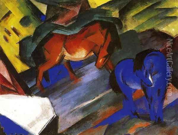 Red And Blue Horse Oil Painting - Franz Marc