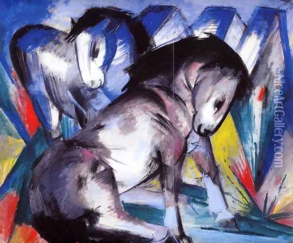 Two Horses2 Oil Painting - Franz Marc