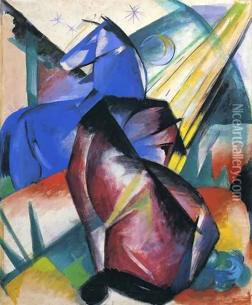 Two Horses Red And Blue Oil Painting - Franz Marc
