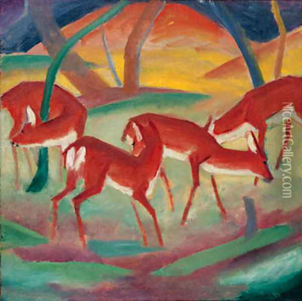 Rote Rehe I Oil Painting - Franz Marc