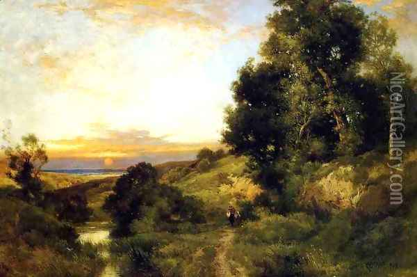 A Late Afternoon In Summer Oil Painting - Thomas Moran