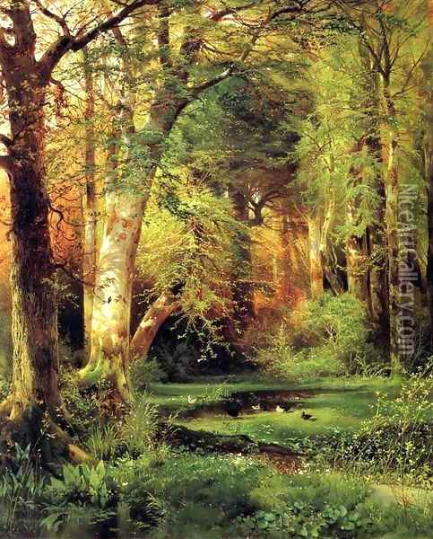 Forest Scene Oil Painting - Thomas Moran