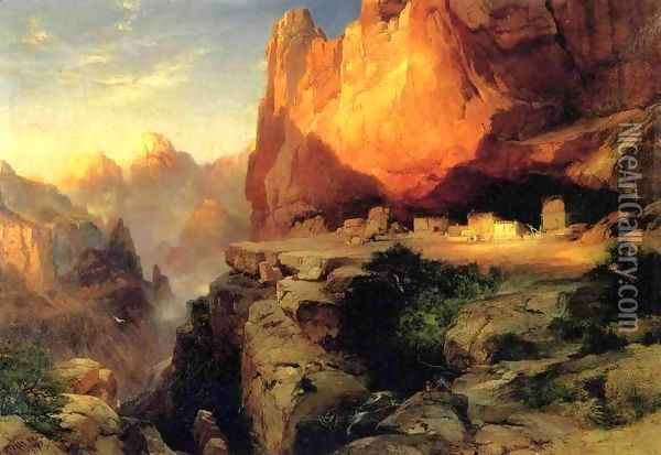 Cliff Dwellers Oil Painting - Thomas Moran