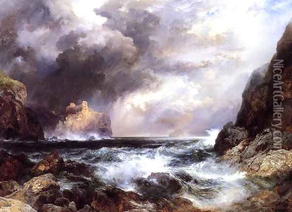 Tantallon Castle North Berwick Scotland Oil Painting - Thomas Moran
