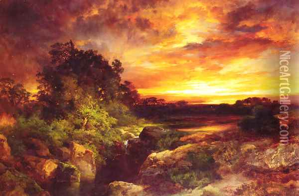 An Arizona Sunset Near The Grand Canyon Oil Painting - Thomas Moran
