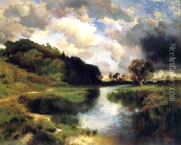 Cloudy Day At Amagansett Oil Painting - Thomas Moran