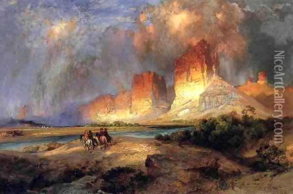Cliffs Of The Upper Colorado River Wyoming Territory Oil Painting - Thomas Moran
