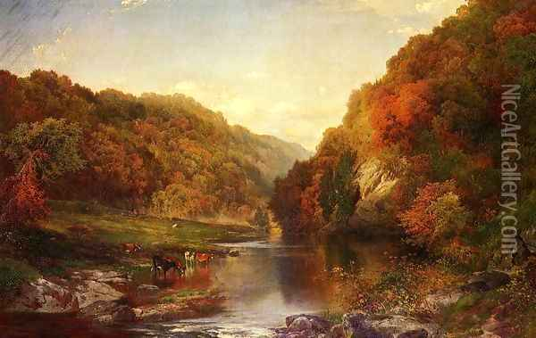 Autumn On The Wissahickon Oil Painting - Thomas Moran