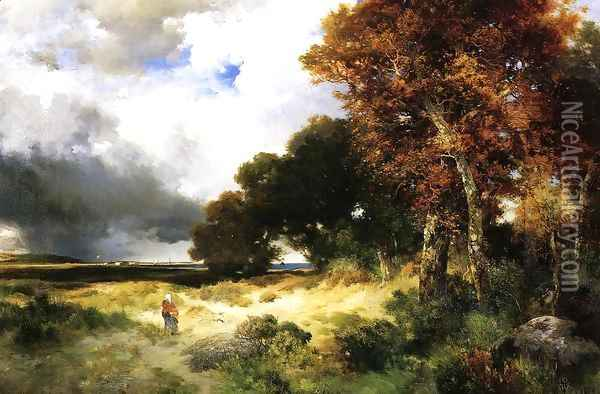 Autumn, Peconic Bay, Long Island Oil Painting - Thomas Moran