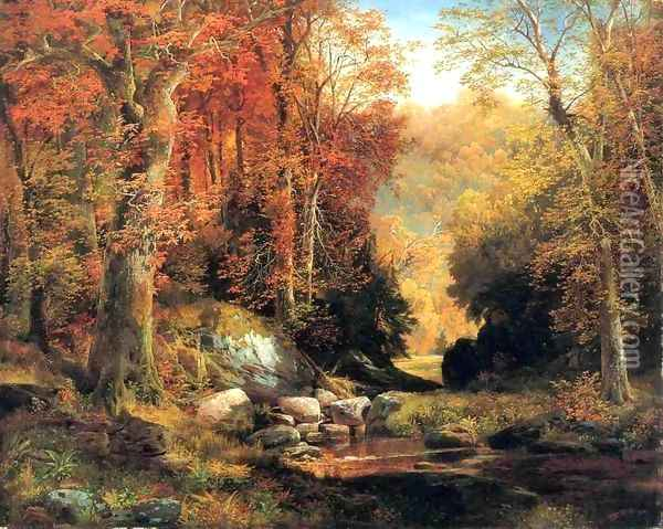 Cresheim Glen Wissahickon Autumn Oil Painting - Thomas Moran