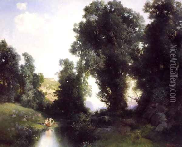 The Bathing Hole Cuernavaca Mexico Oil Painting - Thomas Moran