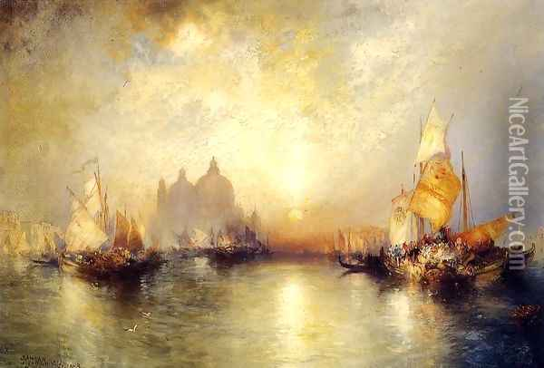 Entrance To The Grand Canal Venice Oil Painting - Thomas Moran