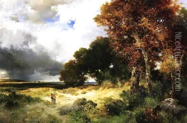 Autumn Peconic Bay Long Island Oil Painting - Thomas Moran