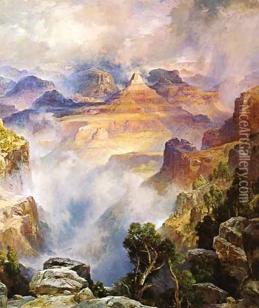Canyon Mists: Zoroaster Peak [Grand Canyon, Arizona] Oil Painting - Thomas Moran