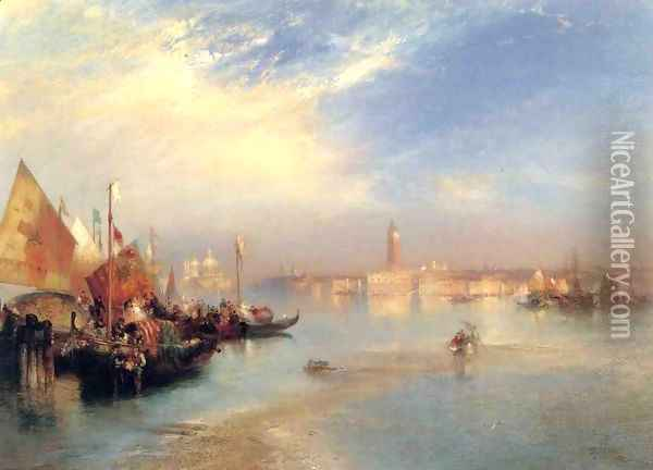 The Fishermans Wedding Party Oil Painting - Thomas Moran
