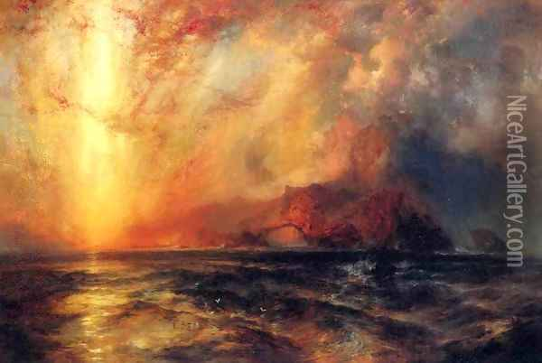Fiercely the Red Sun Descending, Burned His Way across the Heavens Oil Painting - Thomas Moran