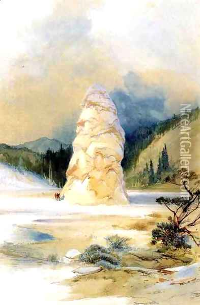 The Hot Springs of Gardiners River, Extinct Geyser Crater Oil Painting - Thomas Moran