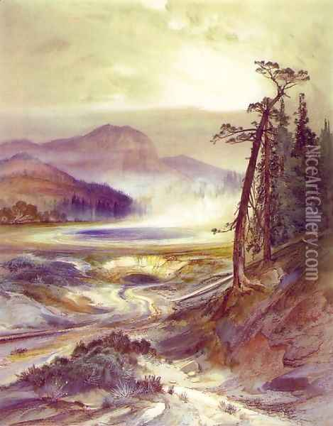 Excelsior Geyser, Yellowstone Park Oil Painting - Thomas Moran