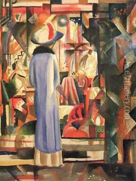 A Large Light Shop Window Oil Painting - August Macke