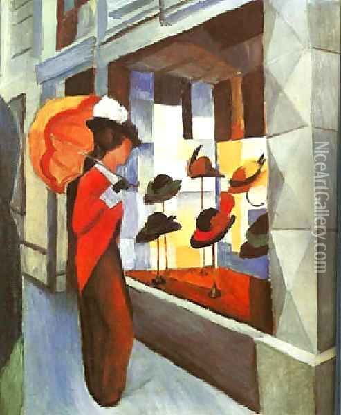 Before The Hat Shop Oil Painting - August Macke