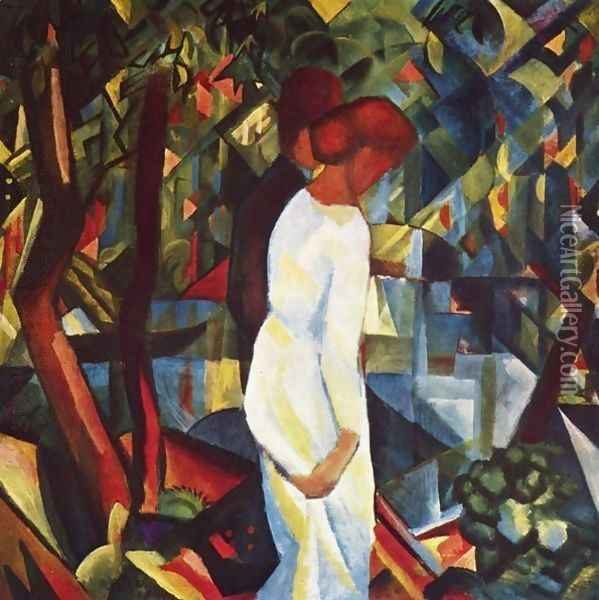 Couple In The Forest Oil Painting - August Macke