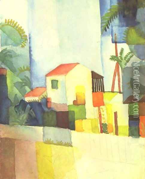 A House Oil Painting - August Macke
